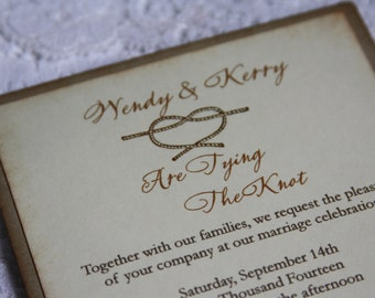 Vintage Style Wedding Invitations Tying The Knot Unique Marriage Invite