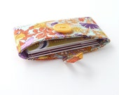 cute card case. womens card holder. orange blue floral fabric pouch. cute business card pouch. cotton teacher teen girl gift