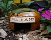 Pottery Outdoor Toad House Yard Decoration Rustic Pine Ready to Ship!