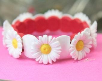 Daisy Flower Bracelet childrens jewelry fashion jewelry kids jewelry childrens bracelet daisy bracelet - 203-4-1205BR