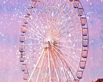 Ocean City, New Jersey, Ferris Wheel Photo, Art Print, Amusement Park, Childrens Room, Nursery Decor, Purple And Pink, Ferris Wheel Print