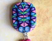 Pink And Blue/ Purple Polymer Clay Pendant / Necklace