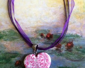 Heart Necklace / Pendant Polymer Clay