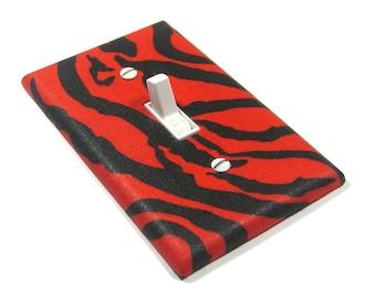 Red and Black Zebra Stripes Light Switch Cover Zebra Bedroom Decor Rockabilly Decoration