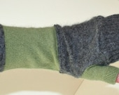 Recycled Gray and Green Cashmere Fingerless Arm Warmers