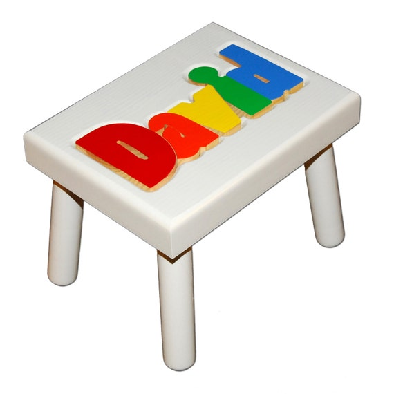 Items Similar To Childs White Name Puzzle Stool Free