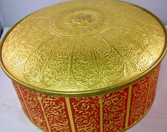 Vintage Red n Gold Embossed Round Candy Tin Fill It Up for Valentines Gift