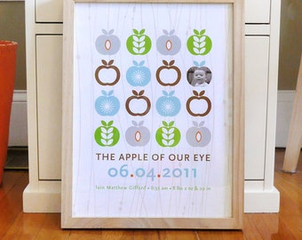 Nursery art print with modern apple pattern and photograph, CUSTOM, LARGE