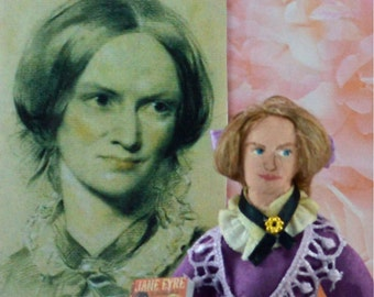 Charlotte Bronte Doll Miniature Author of Jane Eyre Art Collectible