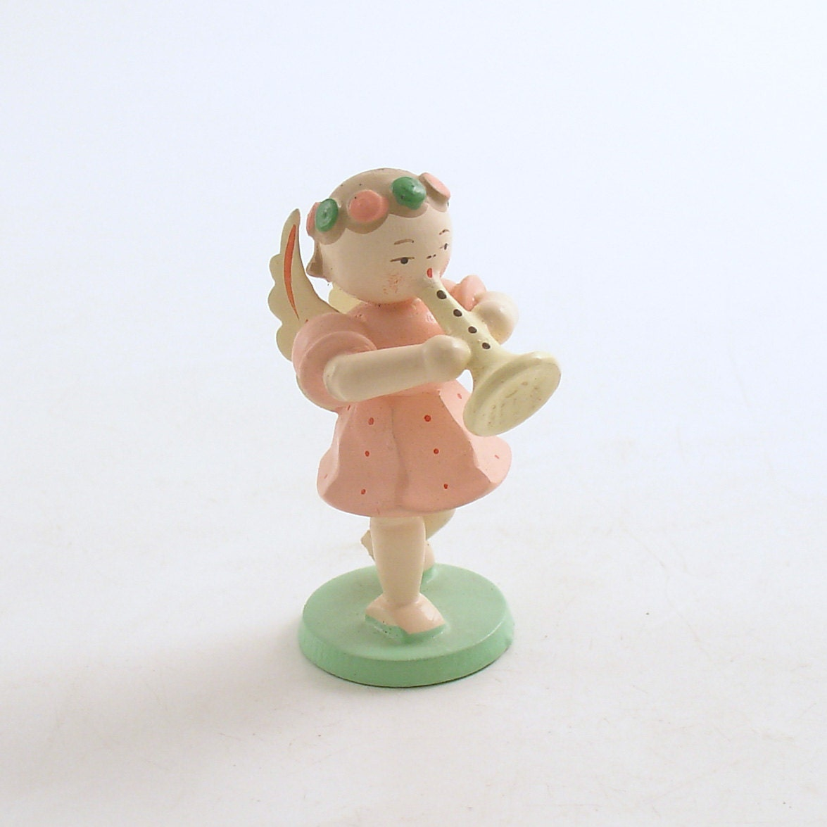Vintage angel figurine wood christmas decoration made in italy