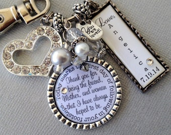 PERSONALIZED MOTHER of the BRIDE gift- thank you for being mother and friend, following in your footsteps, thank you gift
