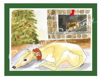 Greyhound Christmas Cards - Sue Monahan Hearth - Set/4