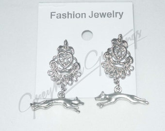 Fancy Silver Plate Filigree Earrings w Silver Plate Stretch Running Greyhound Dog Charms