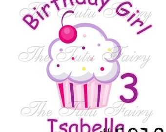 Pink Purple Cupcake Birthday tee Shirt t-shirt name age personalized 1st 2nd 3rd 4th 5th 6th 7th 12 18 2t 3t 4t 5t girl 7