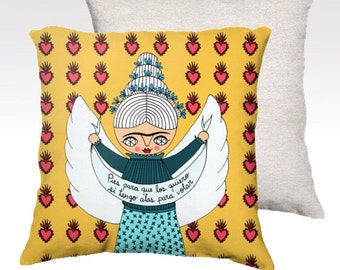 Pillow Case - Flying Frida - Frida Kahlo - home decor - velveteen - 22x 22 inches - 18x18 inches - yellow
