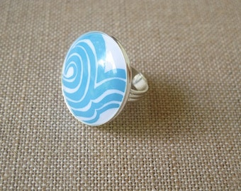 Blue Ring, Blue and White Ring, Retro Ring, Wave Ring