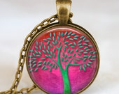 Tree of life jewelry , tree of life necklace ,green pink  tree nature jewelry, friend , family, mom , mother, grandma ,nana gift