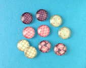 10pcs handmade assorted pink and sea moss color round clear glass dome cabochons 12mm (12-91203)
