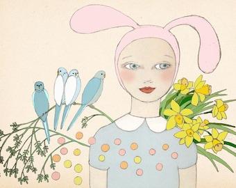 Spring Bunny art print of original drawing