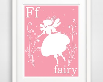 Children's Wall Art / Nursery Decor F is for Fairy print by Finny and Zook