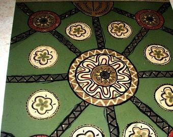rug floorcloth floorcloth mat home decor rug painted rug green brown large rug CUSTOM ORDER