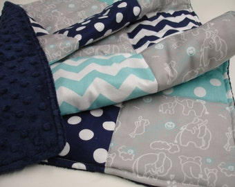Elephants You Are My Sunshine in Aqua and Navy Minky Baby Blanket You Choose Size MADE TO ORDER No Batting