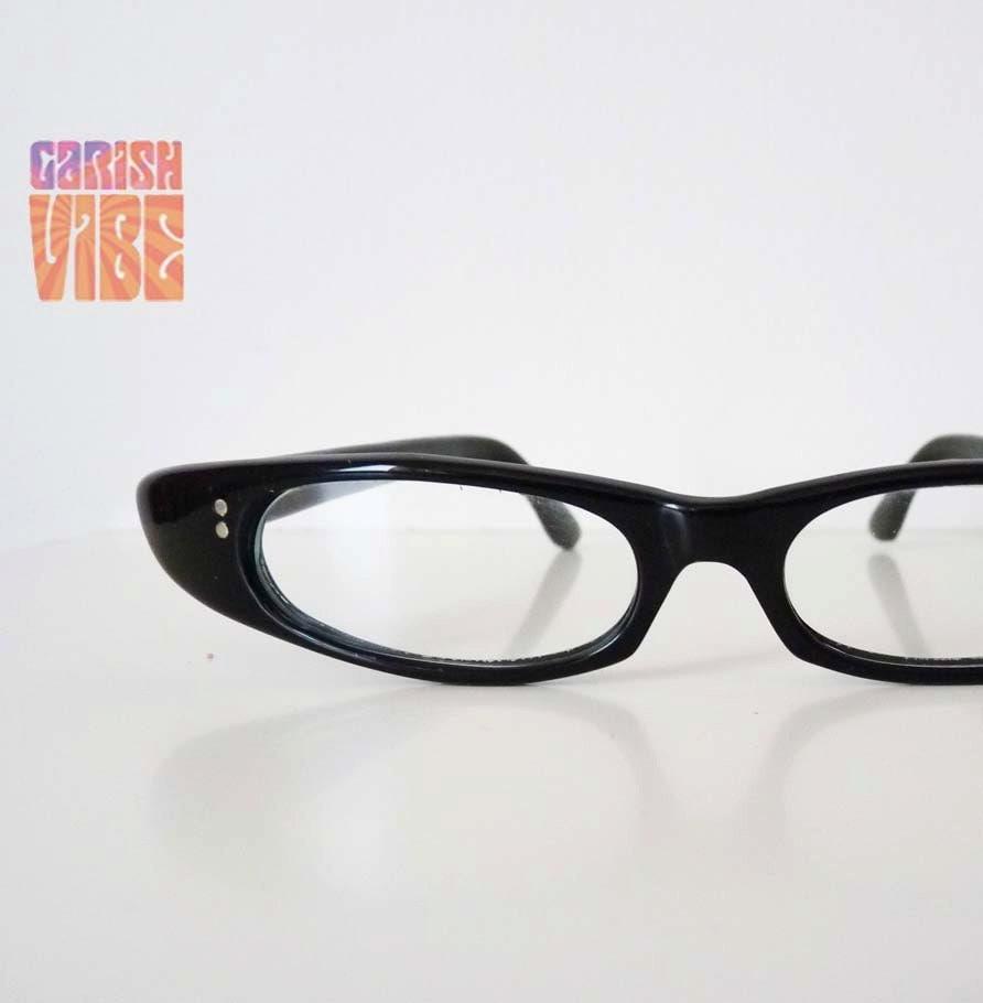 Glasses Narrow Frame : Vintage Eyeglasses 50s EXTREME NARROW CATEYE Frames by ...