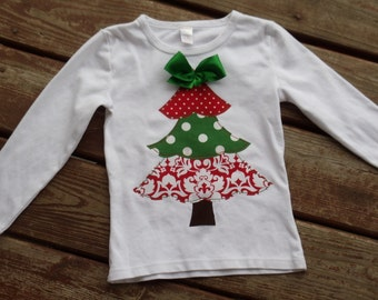 "Girls custom frilly tree  tee  ""O CHRISTMAS TREE"" Collections size 6-12-18-24 mth 2-3-4-5-6-7-8"