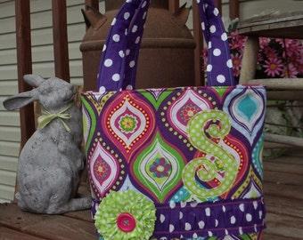 CUTE LIL' BAGS  for cute lil' girls  medium tote bag in fun purple / pink / green / yellow / blue  mixed prints