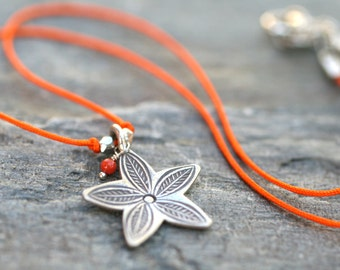 SALE Orange Silk Cord and Thai Sterling Silver Flower Pendant Necklace 16 Inches