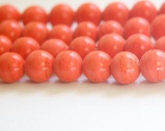 Vintage Coral Glass Beads Japan 10mm (6) jpn007E
