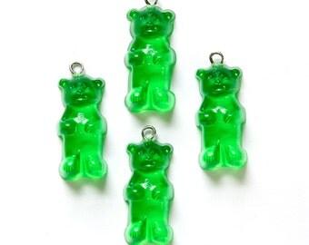 Green Gummi Bear Charms Drops chr152E