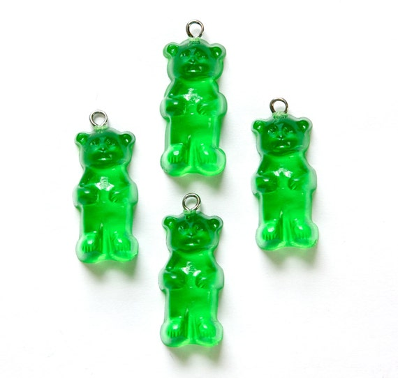 Green Gummi Bear Charms Drops chr152E