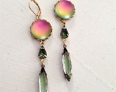 Vintage Crystal and Glass Druzy Earring Pink, Green