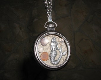 Silver Mermaid with Sea Treasures Locket Necklace