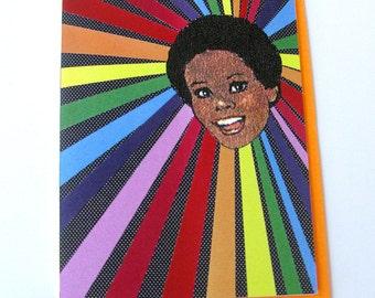 Rainbow Girl Card // Collage