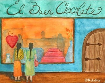 Proceeds Benefit Animal Rescue, Mexican Folk Art Retablo, Watercolor, Chocolate and Friendship, Orange and Blues, Chocolate Shopping, Print