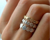 Gold and Silver Pebble Ring Set | Stacking Ring Set | Stackable Ring| Natural Inspired