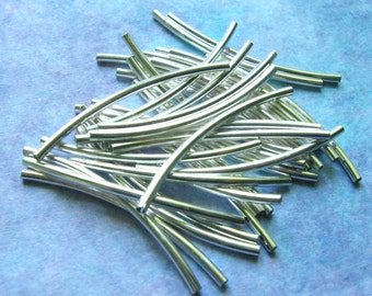 Silver Tube Beads Curved - 30mm x 2mm Silver Finish Brass Noodle Beads - Set of 75 (SBD0001)