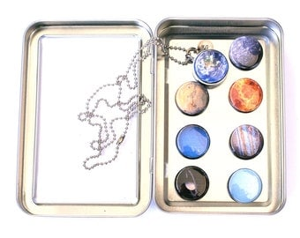 Solar System Necklace, FULL MOON, Planets Necklace, Astronomy Jewelry Astronomy Necklace, Holds a Picture, Interchangeable Locket, Polarity