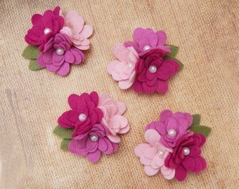 Wool Felt Mum Trios - Raspberry Sorbet Collection - 4 Trios with Leaves - Fabric Flowers