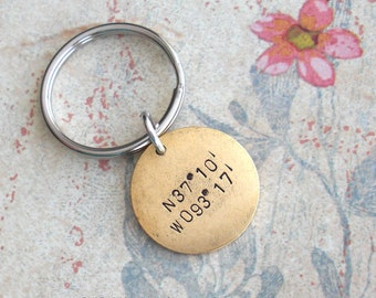 Latitude Longitude Coordinates Keychain.. Hand Stamped GPS customize charm. Medium Round pendant. Copper, Silver, Gold Dad Father's Day Gift