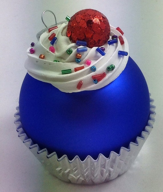 Cupcake ornament matte blue by gatorgrrl on etsy
