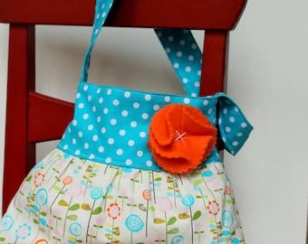 little girls purse flower girl gift toddler handbag tote in riley blake teal polka dots and woodland floral
