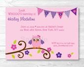 Girl Owl Birthday Invitat...