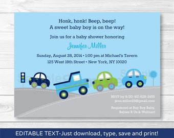 Cute Car Baby Shower Invitation / Car Baby Shower Invite / Cars & Trucks / Vehicles / Baby Boy Shower / INSTANT DOWNLOAD Editable PDF