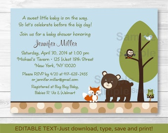 Cute Woodland Forest Animal Baby Shower Invitation / Woodland Baby Shower / Forest Animal Baby Shower / INSTANT DOWNLOAD Editable PDF