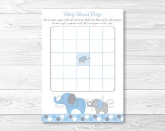 Blue Elephant Baby Shower Bingo Cards INSTANT DOWNLOAD