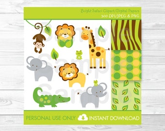 Safari Jungle Animal Clipart / Safari Baby Shower / Jungle Animal Baby Shower / Safari Digital Paper / Baby Boy Shower / INSTANT DOWNLOAD