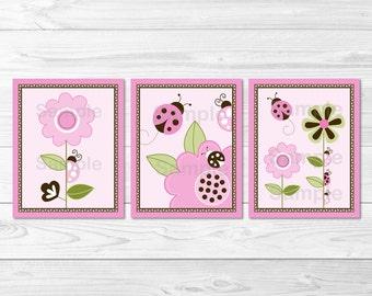 Pink Ladybug Nursery Wall Art / Ladybug Nursery Wall Art / Ladybug Nursery Theme / Pink & Brown / Baby Girl PRINTABLE Instant Download A217